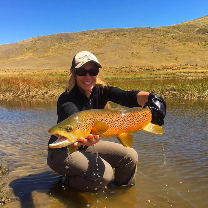 Photo of the day jess and the big backcountry brown for Backcountry fly fishing
