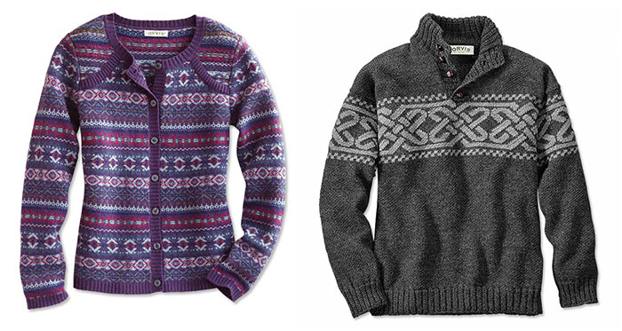 Fair Isle Cardigan (left) and Celtic Knot Intarsia Pullover