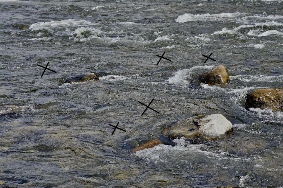 X Marks The Spot Above Each Rock Where Big Trout May Hold Getting First Dibs On Whatever Food Comes From Upstream